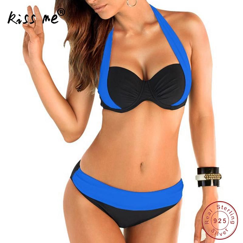 <font><b>2017</b></font> <font><b>New</b></font> <font><b>Sexy</b></font> <font><b>Bikinis</b></font> <font><b>Women</b></font> <font><b>Swimsuit</b></font> <font><b>High</b></font> <font><b>Waisted</b></font> Bathing Suits Swim Halter Push Up <font><b>Bikini</b></font> Set bandage Swimwear Bathing Suit image