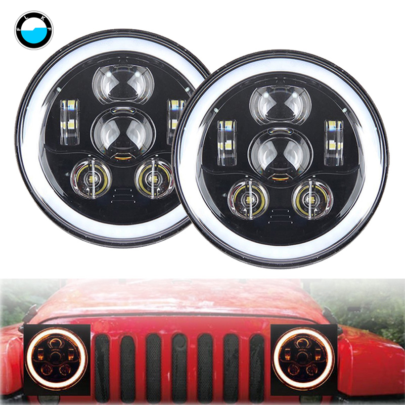 7inch led Headlights with DRL Angel Eyes w/ Amber Turn Signal lamp for Jeep Wrangler JK CJ Hummer led Projector Driving lamps. 7inch round front light beam 40w led driving light headlight with angel eyes for jeep wrangler jk hummer
