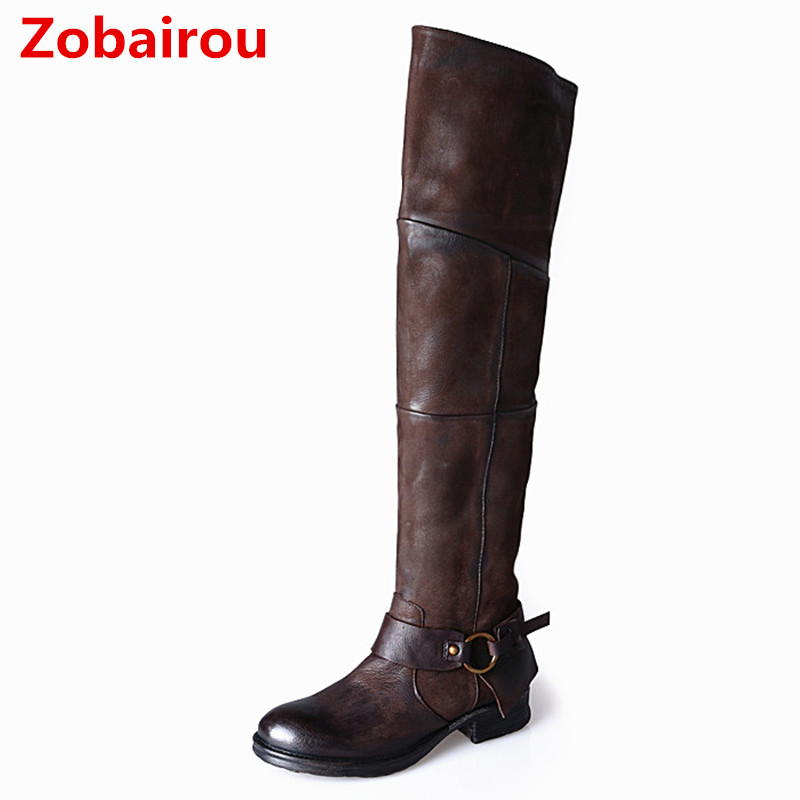 Zobairou Handmade Buckle Thigh High Boots Winter Women Overknee Boots Square Heels Knee High Boot Leather Stockings Size12