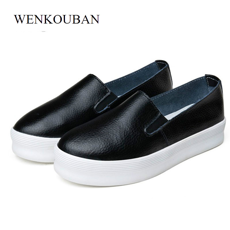 Women Shoes Flat Platform Summer Creepers Loafers Shoes Ladies Casual Flats Slip On White Black Moccasins Chaussure Femme fashion women flats summer leather creepers platform sneakers causal shoes solid basket femme white black