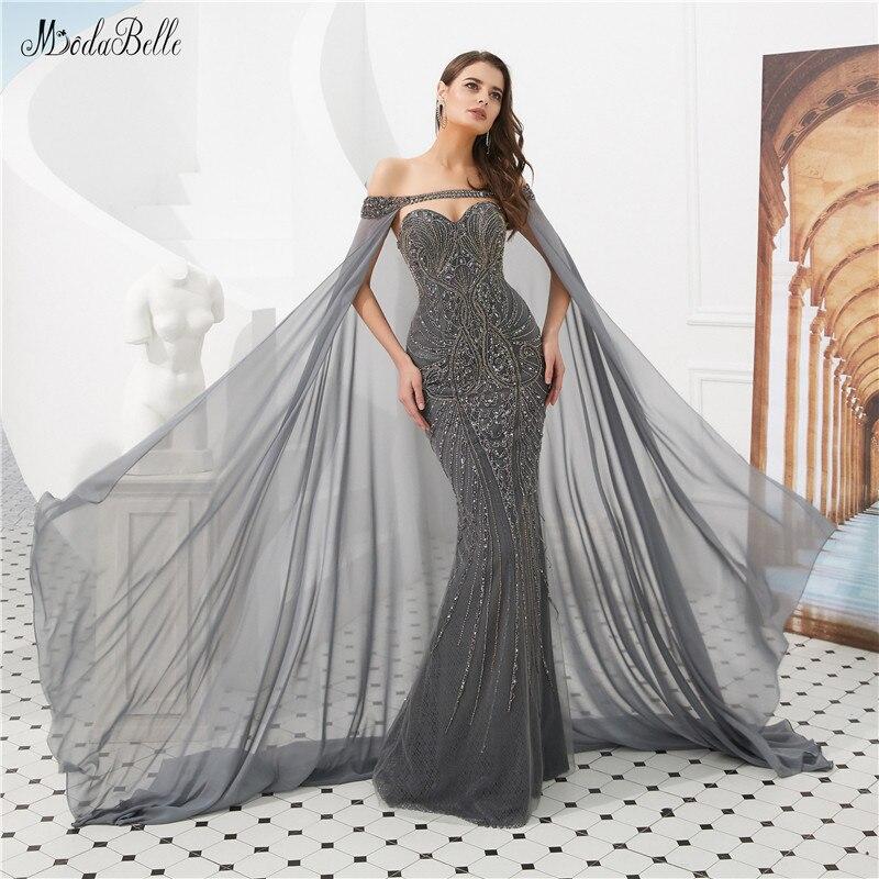modabelle Luxury Crystal Gray Evening Dresses With Detachable Cape Vestido  Sereia Beading Evening Dress Arabic Avond 6d1a8a7c4270