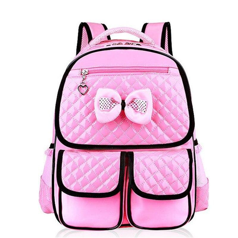 Girl s School Bags Lovely Bowknot Children School Bag Brand PU Leather  Travel Bag Korean 1-3-6 Grade Girl Book Bag Y060 05e02845dc213