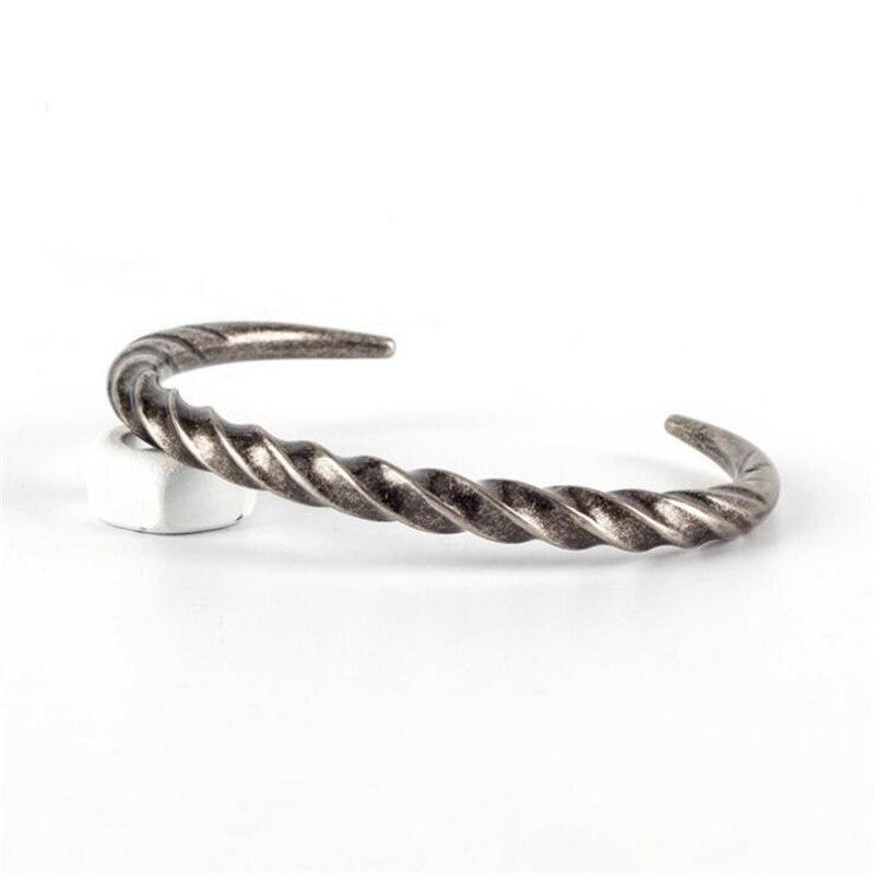 Retro Silver Men Jewelry Punk Stainless Steel Bracelet Men Twist Horns Cuff OPen Bracelets & Bangles Couple pulseira masculina bangle