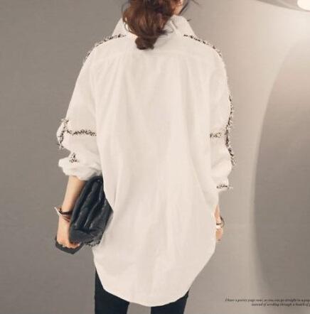 Women Tops Autumn New Solid Color Women Office Shirts Ladies OL Basic Crochet Long Sleeve Blouse Shirt Korean