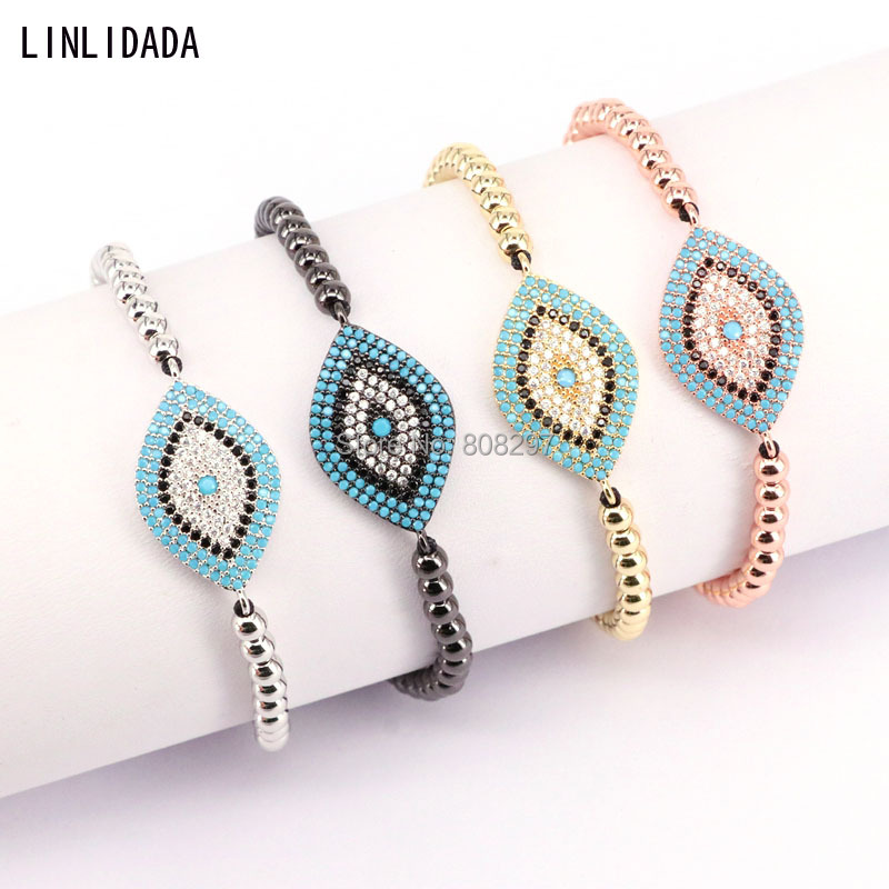 10Pcs Mix Color Micro Pave Zirconia CZ Eye 4MM Beads Braided Macrame Bracelets Bangles Jewelry