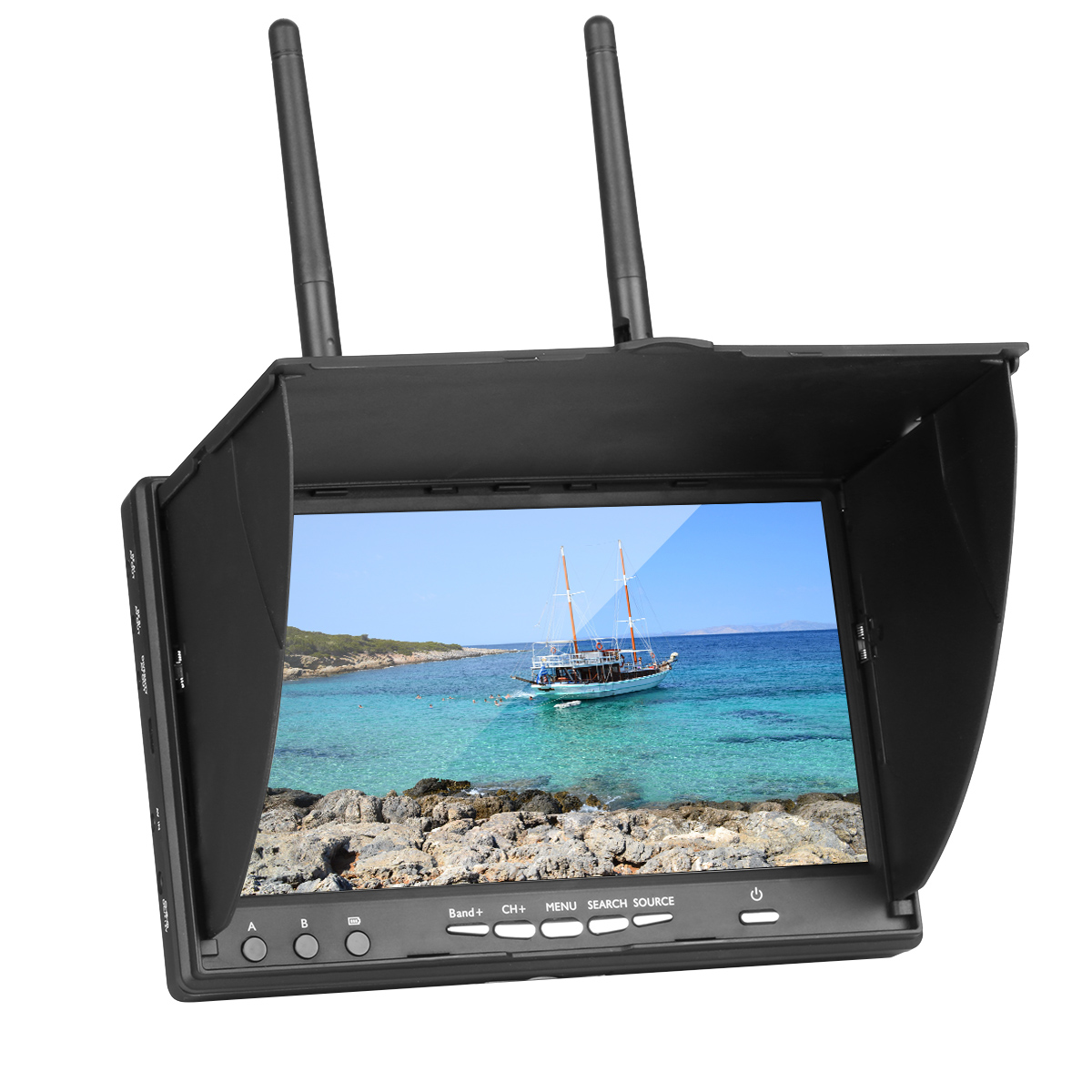 LCD5802 LT5802S 5802 5.8G 40CH 7 Inch Diversity Receiver Raceband Monitor With Built-In Battery For FPV DroneLCD5802 LT5802S 5802 5.8G 40CH 7 Inch Diversity Receiver Raceband Monitor With Built-In Battery For FPV Drone