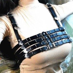 Image 2 - 100% handcrafted preto festa rainha sutiã arnês punk resistente superior bondage gargantilha de couro corrente link cinto cintas