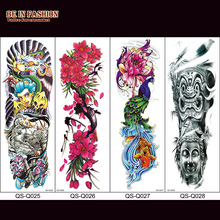 1pc Fake Tattoo Sleeves For Men Colok Rose Death Skull Black Full Arm Temporary Tattoos Stickers Large Flower On Body Shoulder