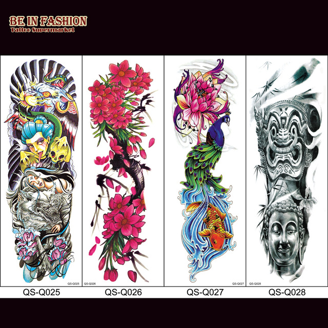 1 Unid Mangas Falsas Del Tatuaje Para Hombres Colok Rose Muerte Del