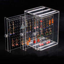 2018 Acrylic Stud Earrings Storage Box, Wall-mounted Large Capacity Jewelry Stand, Multi-function Jewelry Dust Storage Box