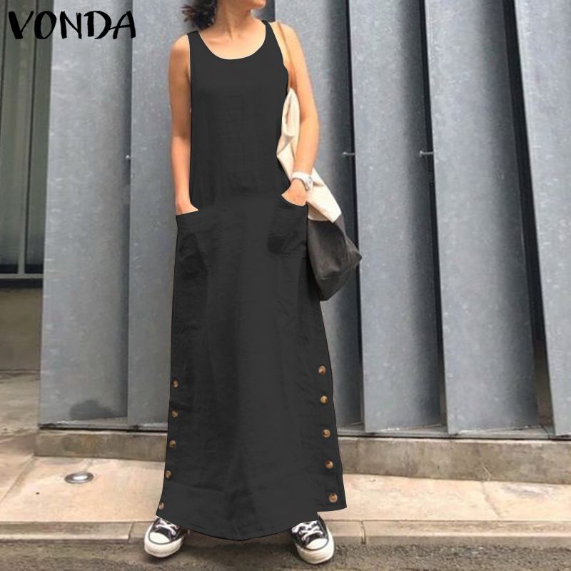 VONDA <font><b>Sexy</b></font> Solid Maxi <font><b>Dress</b></font> <font><b>Club</b></font> O Neck Sleeveless Long <font><b>Dresses</b></font> Women Party Robe Femme Casual Loose Sundress 2019 Bohemian <font><b>5XL</b></font> image