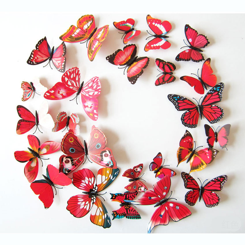 Morden 3d butterfly wall stickers diy home decor stickers for 3d butterfly decoration
