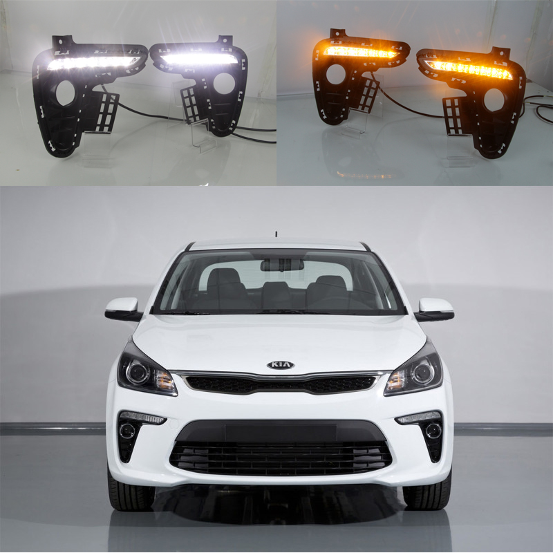 цена на LED DRL Driving Daytime Running Day Fog Lamp Light For 2017 2018 kia rio k2