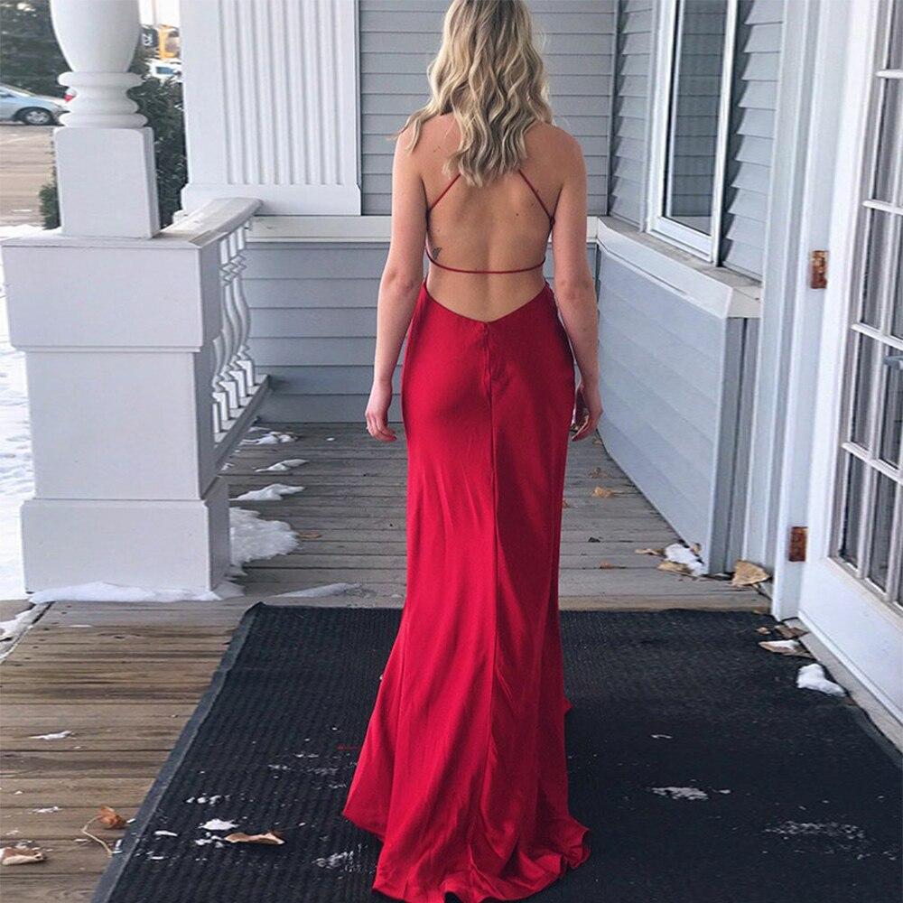 Bbonlinedress Hot Sale Sheath Prom Dress Spaghetti Straps Floor Length Evening Dress Vestido de fiesta 2019 Vestido de noche in Prom Dresses from Weddings Events
