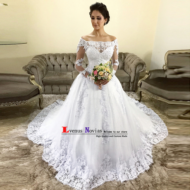 Vestido De Noiva Vintage Lace Beaded Bride Dress Sexy Off the Shoulder Long  Sleeve Wedding Dresses 2019 Robe de Mariee Casamento 541838b2c844