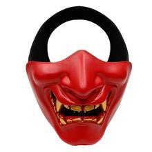 Halloween Kostuum Cosplay Tandbederf Evil Demon Monster Kabuki Samurai Half Cover Masker Partij Scary Decoratie