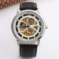 New Top Brand Luxury Mens Watches Military Army Sport Clock Male Leather Skeleton Automatic Mechanical Men
