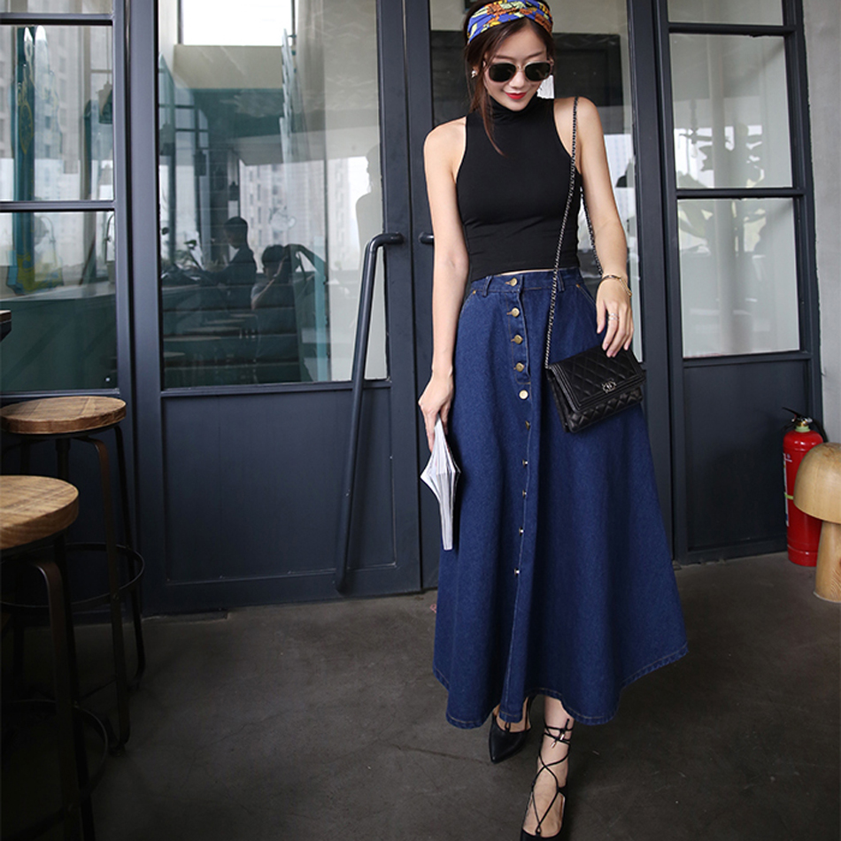 Spring New Women Denim Skirts Long Skirt High Waist Jeans Maxi Casual Plus Size Cute School Girl Hot Wear In From Womens Clothing