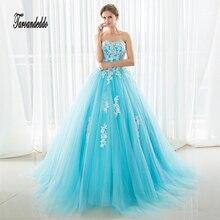 Em Estoque Vestidos de Baile Azul Tulle Strapless Prom Vestidos Cristais Vestido de Noite Sexy 16 Vestidos vestido de festa
