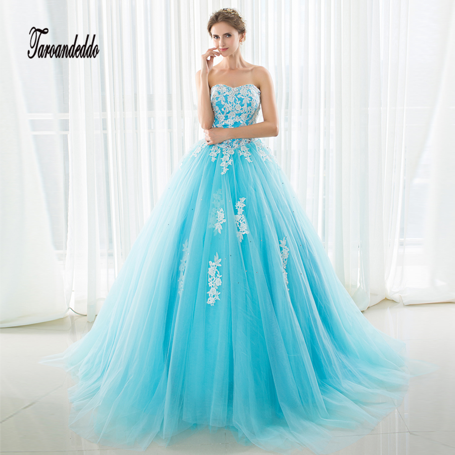 In Stock Ball Gowns Blue Tulle Strapless Prom Gowns Crystals Evening Dress Sexy 16 Dresses vestido de festa