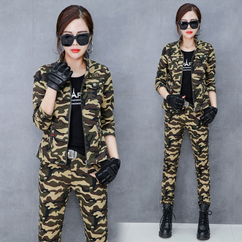 Здесь продается  M-6XL Camouflage Military Women Suit 3 Piece Set Black T Shirt +camouflage Pants and jacket Set Fashion Sweat Suits Women Outfit  Одежда и аксессуары