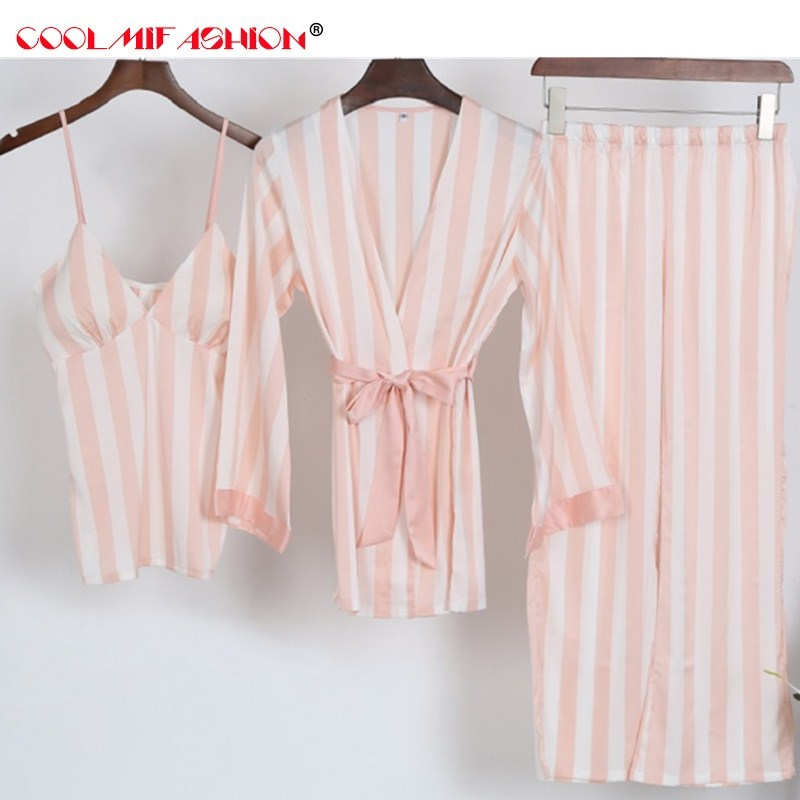 Satin Pajamas for Women 3pcs Striped Sleepwear At All Seasons Female Silky Pajamas Set Robe+Spaghetti Strap+Pants sexy Pijama