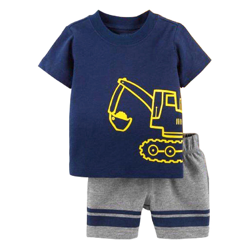 Excavator Little Boys Clothes Suit Summer Toddler Tops Pant Outfit Digger Boy Cotton Infant Clothing 6 9 12 18 24 Month Pajamas