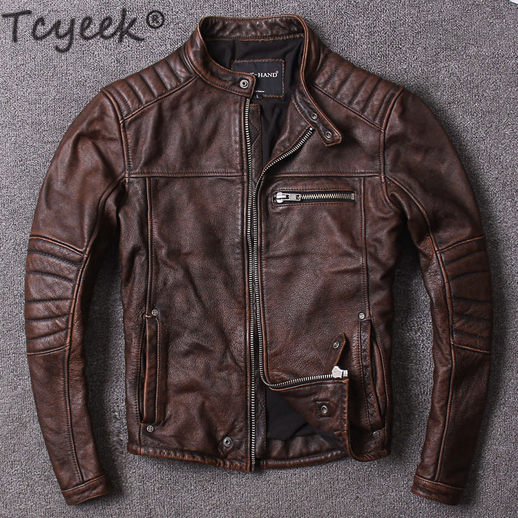 Tcyeek Spring Genuine Leather Jacket Men Clothes 2019 Streetwear Mens Autumn Cow Leather Coat Casual Slim Fit Moto Jacket LW1087