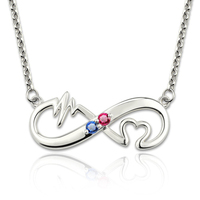 Women Silver 925 Necklace Custom Birthstone Necklaces Heartbeat Infinity Heart for Infinite Love Pendants minimalist jewelry