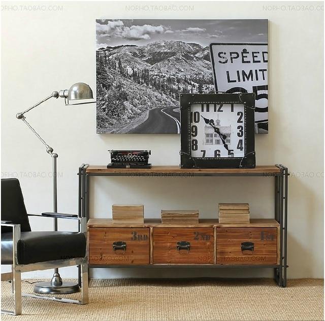 amerikaanse land woonkamer tv kast retro hout smeedijzeren console