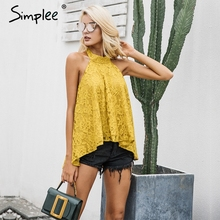 Halter backless lace top female Causal strapless floral camisole top
