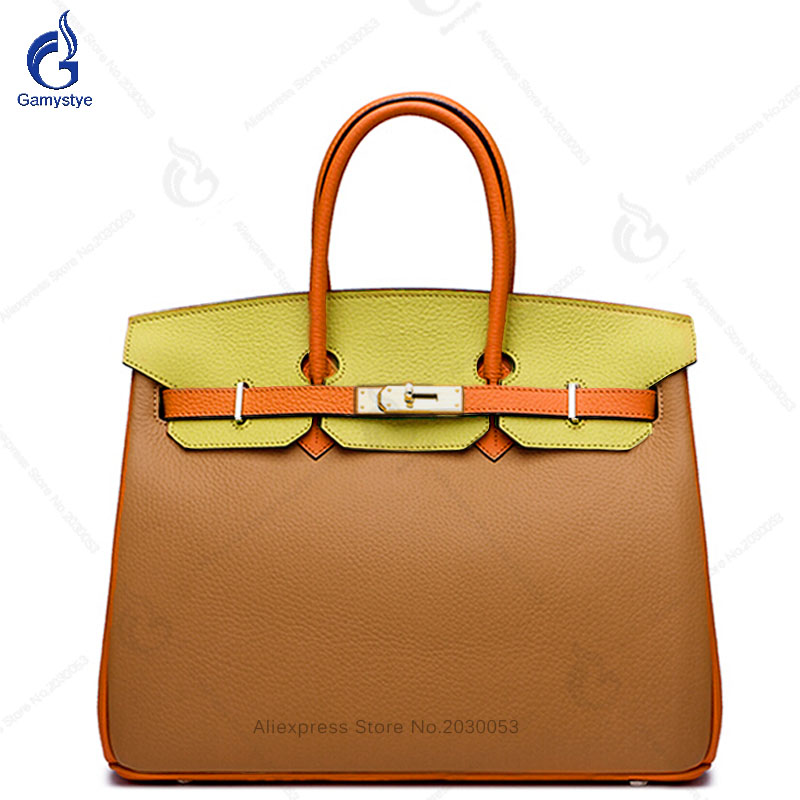 Patchwork Totes Panelled Color Orange bags Classic Women Bags Crossbody Bag Togo Genuine Leather Handbag For Women #WZ081118B цена