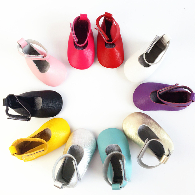 2016 Wholesale New Arrival Spring Fashion Solid Color Flat Genuine Leather Sewing Lovely Princess Girls First Walker