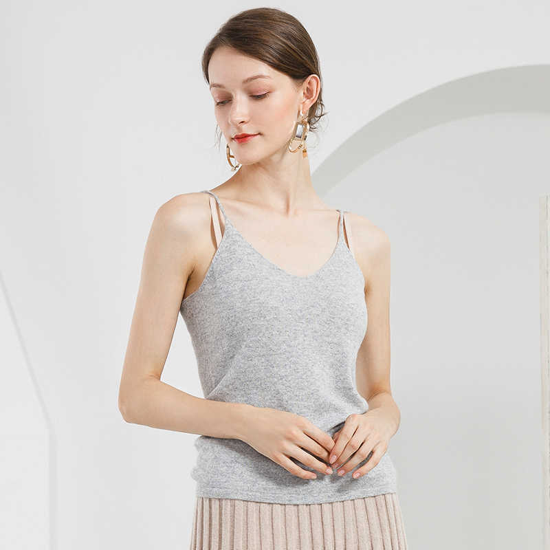 Hot Saling 100% Pure Cashmere Knitted Sexy Tank Top Women Tanque Basic Styles
