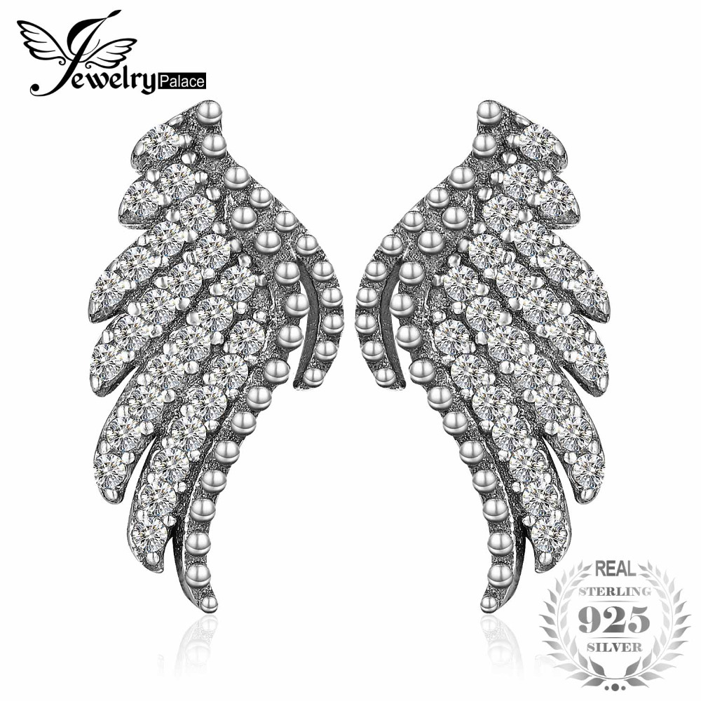 JewelryPalace 925 Sterling Silver Studs Earrings Glitter Angel Wings Wedding Bridal Vintage Fine Jewelry Gifts For Women NewJewelryPalace 925 Sterling Silver Studs Earrings Glitter Angel Wings Wedding Bridal Vintage Fine Jewelry Gifts For Women New