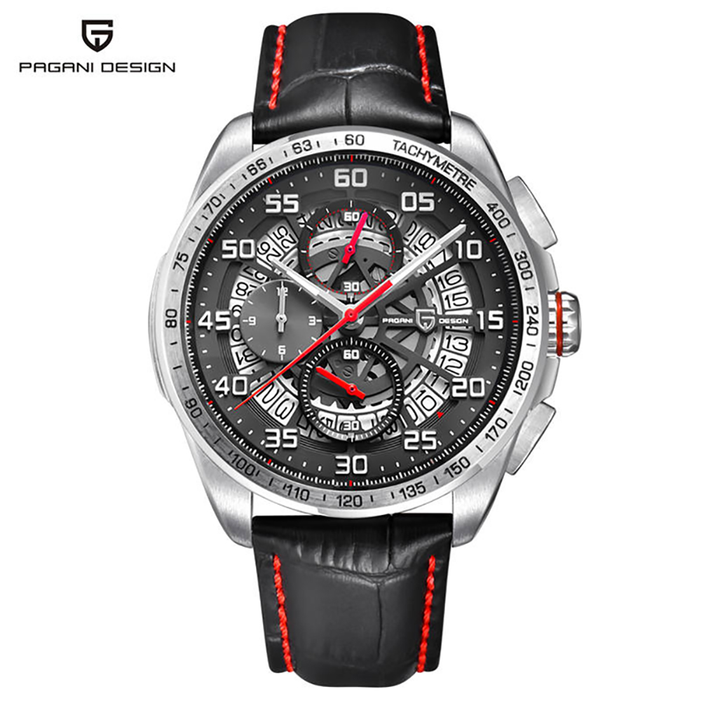 PAGANI DESIGN Skeleton Watch With Leather Strap & Chronograph