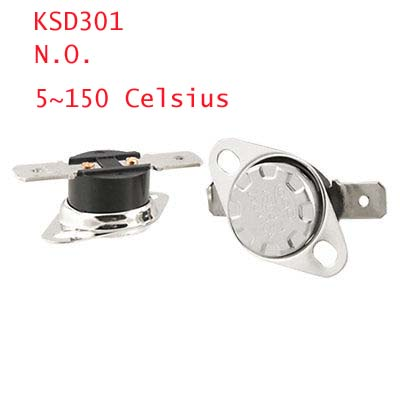 2 x KSD301 5~150C Celsius Normal Open Thermostat Temperature Control Switch 5 x 75c manual reset thermostat normal closed temperature switch 250v 10a