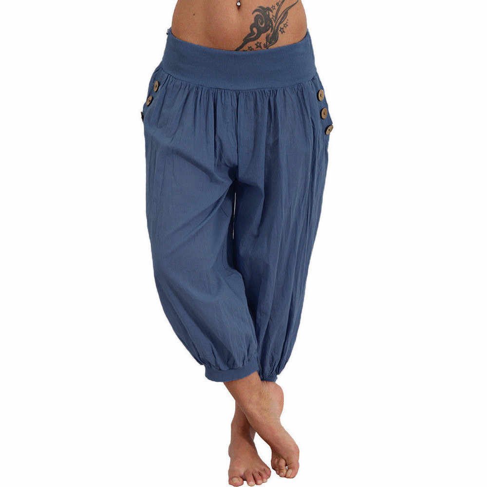 af39137aaa7036 ... Women Elastic Waist Check Baggy Wide Leg Summer Yoga Capris leggings  sport fitness women 2018 sportswear ...