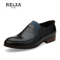 RELKA Handmade Men Casual Shoes High Quality Genuine Leather Round Toe Soft Low Heel Shoes Solid Slip on Fashion Men Shoes P21