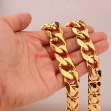 7-40inch Charming Gift New Fashion 19mm Stainless Steel  Gold color  Curb Cuban Chain Necklace Bracelet Highly Polished Jewelry