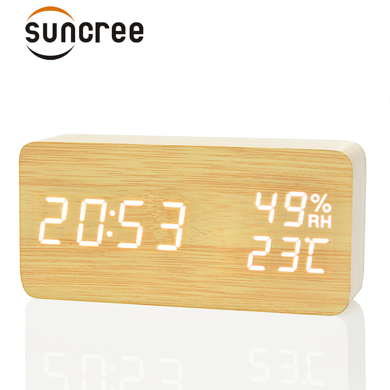 Suncree Bois En Bois LED Réveil, Despertador Température Humidité Électronique De Bureau Horloges De Table Numérique