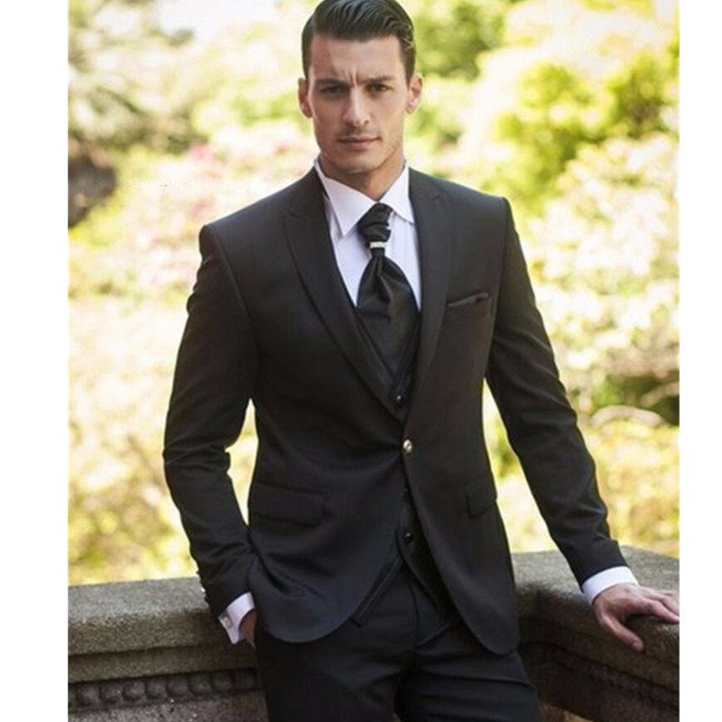 Fashionable One Button Black Groom Tuxedos Groomsmen Men s Wedding Prom font b Suits b font