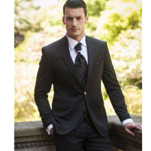 Fashionable One Button Black Groom Tuxedos Groomsmen Men's Wedding Prom Suits Custom Made (Jacket+Pants+Tie)