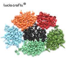 Lucia crafts 100 шт 4*8 мм разноцветные Круглые застежки для скрапбукинга металлические аксессуары для рукоделия G0938
