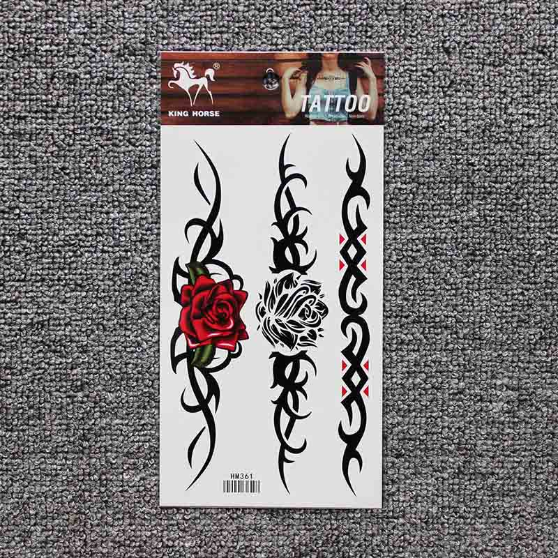 Colorful beautifulred rose flower Body Art Waterproof fake sexy For Woman Flash TemporaryTattoo Stickers 10*20CM KD361 1