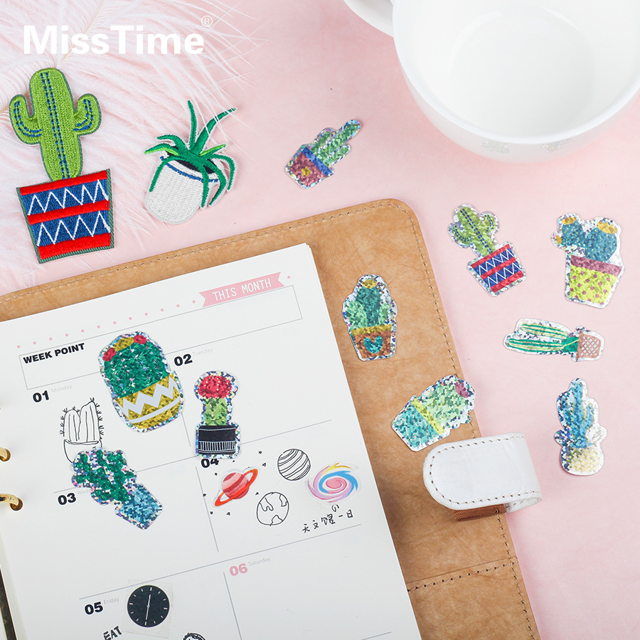 2or5packs/lot Cute Cactus Design Fashion Laser Shinny Creative Stickers DIY Scrapbooking Album Bullet Journal Glitter Sticker