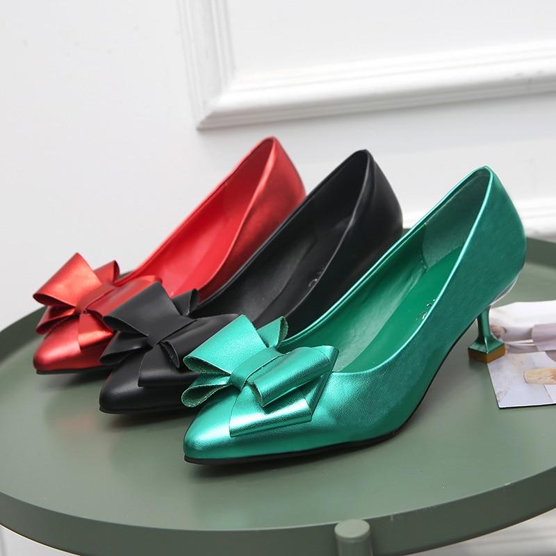 Talon Avec Grand Slip Carré Doux Bout 34 Sur rouge Printemps Automne Chaussures Arc 39 Med Haut D456 Taille vert Noir Pompes Pointu Femmes xcqPwI7