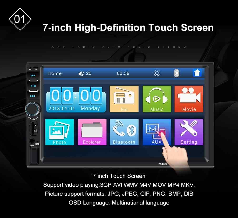 """ステレオ車 7 """"タッチスクリーンラジオの Bluetooth Araba Teypleri リアビューカメラ Autoradio 2 Din Mp5 プレーヤー Multimidia 7018b"""