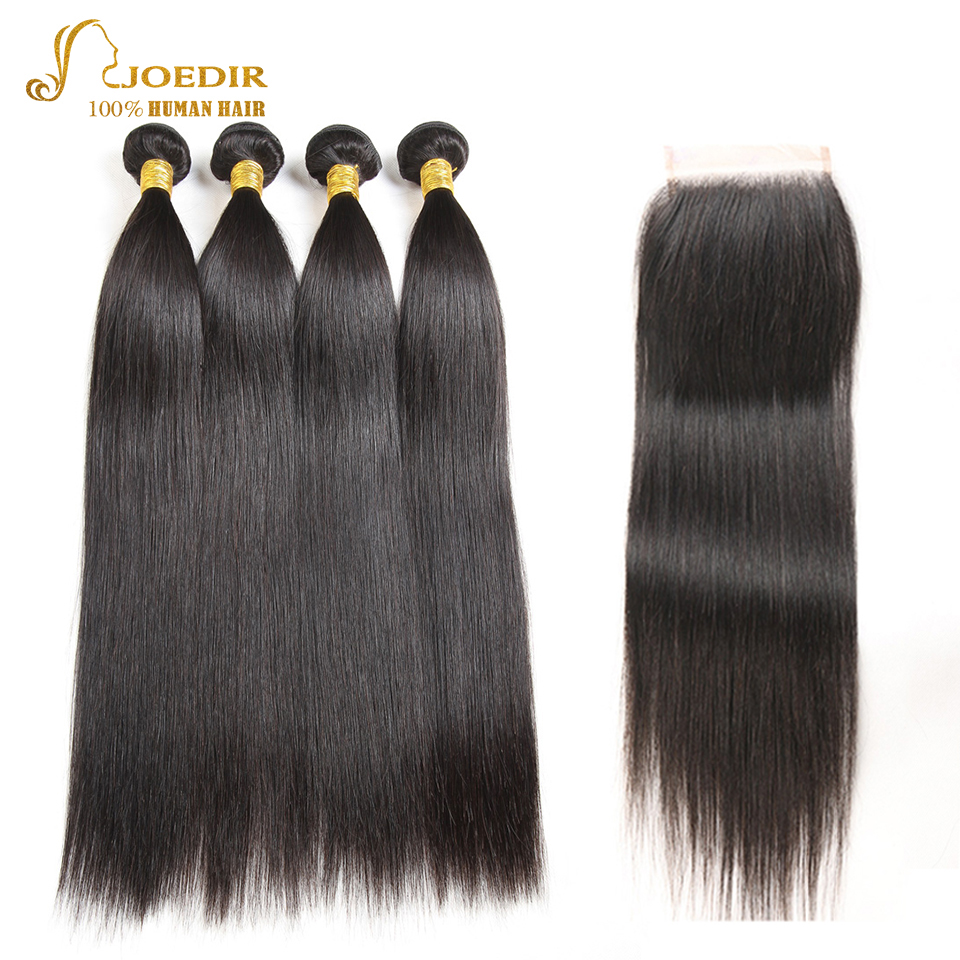 JOEDIR Pre-Colored Indian Straight Hair Bundles With Closure 4*4 Human Hair Lace Closure With 4 Bundles Hair Extensions