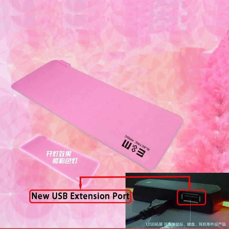 Tapis de souris mémoire RGB lumière LED rose cerise coloré USB HUB extension Port pour clavier souris écouteur Table Pad Alien LOL jeux